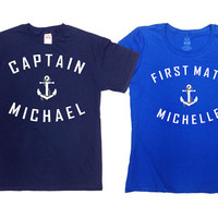 Matching Couple Shirts Nautical TShirt Mrs And Mrs T-Shirt Sailing Gift His And Hers T Shirt Captain And First Mate Anchor Boating SA367-539