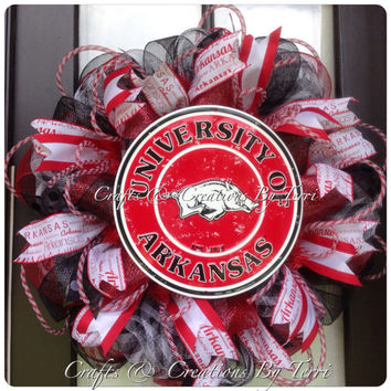 Arkansas Wreath - Razorbacks Wreath - Arkansas Razorbacks Wreath - Football Wreath - Deco Mesh Wreath - Door Decor - Ready To Ship