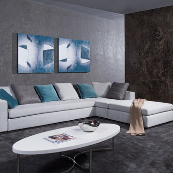 Whitley Modern Grey Fabric Sectional Sofa w/ Ottoman