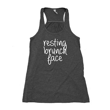 Resting Brunch Face Tank Top Lunch Food Mimosa Tumblr Flowy Racerback Tank