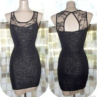 Vintage 80s SEXY Black Metallic Sparkle Sweetheart Body Con Party Dress Lace M/L