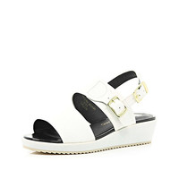 River Island Girls white slider wedge sandal