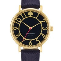 Women's kate spade new york 'metro' round Saffiano leather strap watch, 34mm - Blue/ Gold