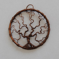 Copper jewelry Tree of Life pendant, made of solid copper wire with leather 60 cm cord.