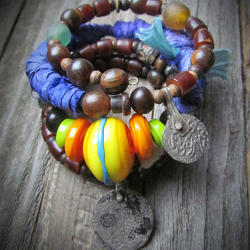 STAR SHINE~Artisan Four Coil Gypsy Boho Wrap Bracelet~Blues Sari Silk~African Coin Charms~Ethnic~Unique~Earthy~Rustic~Mdogstudios~
