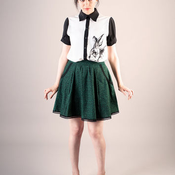 Buy 2 get 1 free sale, Green cotton mini skirt with pockets, circle skirt, lace trims
