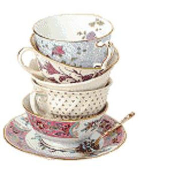 Stacked Tea cups - colorful playful alice in wonderland roses china sippy sippy - pdf cross stitch pattern -  -INSTANT DOWNLOAD