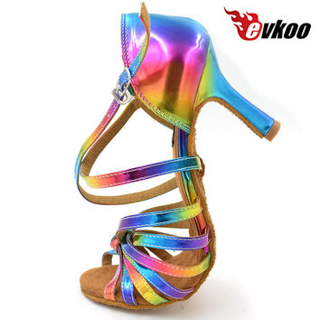 Free Shipping Latin salsa shoes lady evkoodance Rainbow Color 2016 leather 8.3cm Heel Ballroom Latin Dance Shoes women Evkoo-074