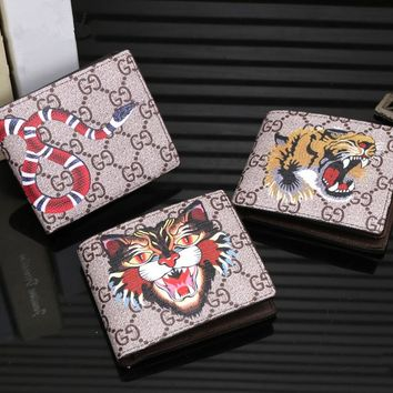 """Gucci"" Men Purse Classic Animal Series Pattern Print Short Section Fold Wallet"