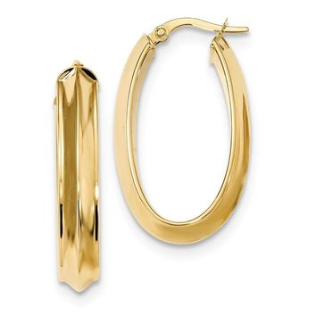 14k Gold 31 mm Polished Beveled Tube Oval Hoop Earrings