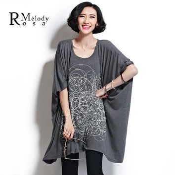 2015 Fashion Summer Over Size Dress 5XL 4 Colors Batwing O Neck Circles Lines Cotton Loose Dress for Fat Women(R.Melody DS0016)