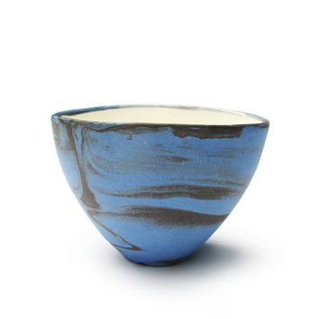 Ceramic cup made of blue and grey porcelain for tea coffe or snack bowl