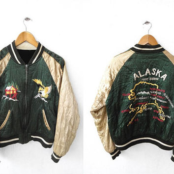 CRAZY SALE 25% Vintage 80's JAPAN Sukajan Eagles Alaska 80's Sewing Chop Johnbull Embroidered Korean War Souvenir Reversible Velvet Satin Ja