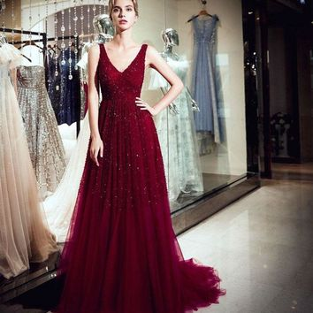 Prom Burgundy Sparkly Dress V-neck Beaded Bodice A-line Sweep Train Evening Gowns Long