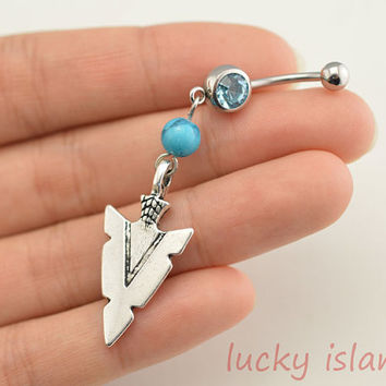belly ring,belly button jewelry,arrow head belly button rings,turquoise navel ring,friendship piercing bellyring,bff gift