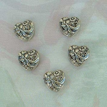 Five Art Nouveau Style Button Covers Floral Bows Silvertone Metal