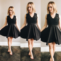 A Lace Flare V Neck Party Dress in Black
