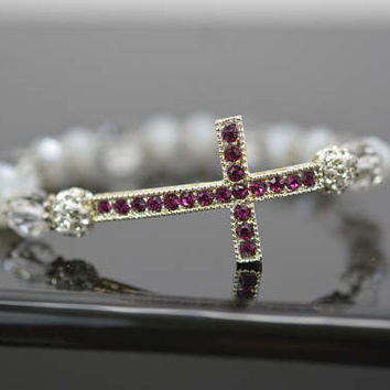 Pink Rhinestone Cross Bracelet, Stacking Cross Bracelet, Rhinestone Cross Bracelet, Stretching Cross Bracelet, Sideways Cross Bracelet