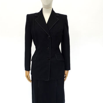 VINTAGE 1940s CC41 WW2 WOOL SUIT 6 8