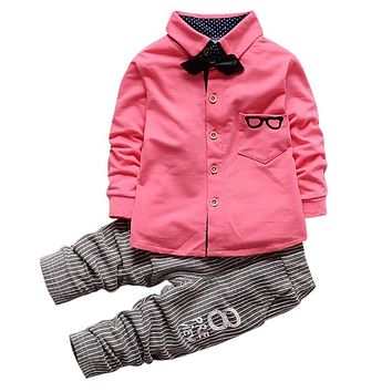 Baby Boy Outfits Cloth Set Long Sleeve Glasses Printed Tops Shirt with Necktie + Striped Pants