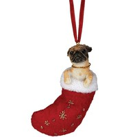 ONETOW Tan Pug in Stocking Christmas Ornament