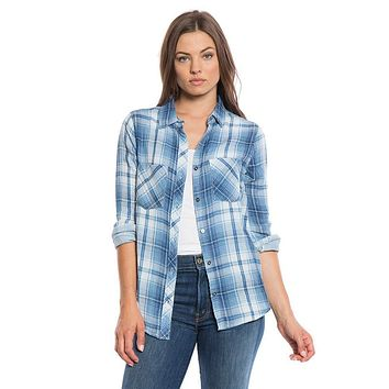 Double Weave Plaid 2 Pocket Work Shirt in Chambray by True Grit (Dylan)