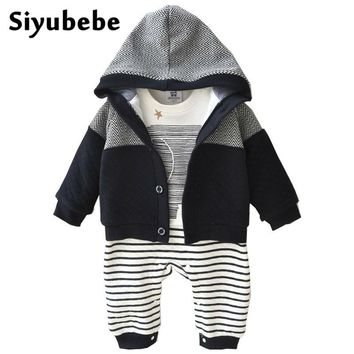 Baby Boy Clothes 2PCS Set Winter Newborn Baby Clothes Thicken Cotton Romper+Coat Baby Rompers Infant Jumpsuit Boy Clothes 0-12M