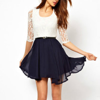 Lace stitching chiffon dress pleated skirt from Girl boutique