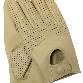 Riparo Women's Leather Half Mesh Driving Gloves - Sand