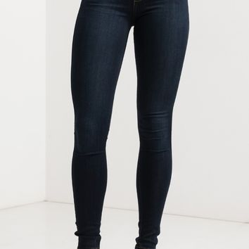 Mid Rise Zip Up Button Skinny Denim Jeans