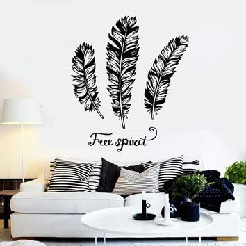Vinyl Wall Decal Feathers Quote Free Spirit Stickers Mural Unique Gift (ig4066)