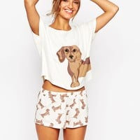 ASOS Sausage Dog Tee & Short Pyjama Set