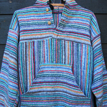 Baja Mexican Hoodie Sweater, Skateboard Surf Southwestern Hooded Poncho, Native Boho Hippie Top, Mexican Blanket Jacket, 90's Drug Rug
