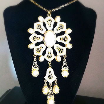 Vintage Statement Necklace Gold Tone White Enamel White Cabochons Gold Chain