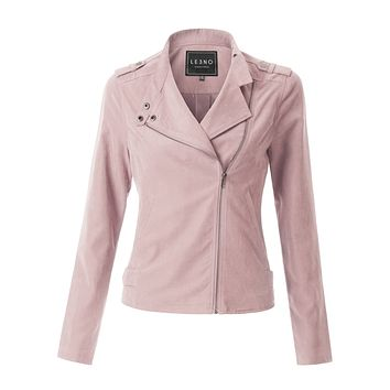 LE3NO Womens Lightweight Faux Suede Zip Up Moto Biker Jacket