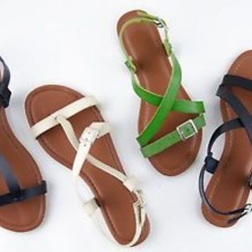 Women's Sandals Flat Slingback Gladiator Sandal Shoes New 2 Styles