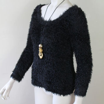 Vintage - 90s - Black - Shaggy - Fun Fur - Fitted - Scoop Neck - Stretch - Fuzzy Sweater - Seapunk