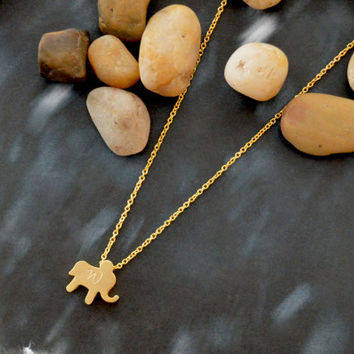SALE10%) A-064 Hand stamped initial elephant necklace, Animal necklace, Simple necklace, Gold plated chain/Everyday jewelry/Special gift/