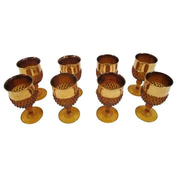 Pre-owned Amber Glass Goblets - Set of 8