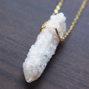 SALE 25% OFF: Opal Spirit Quartz Necklace, Gold