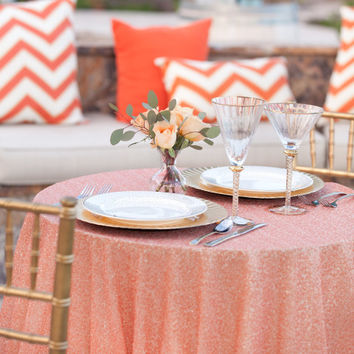 Tangerine Sequin Tablecloth We can do custom sizes
