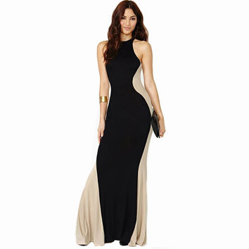 Sexy Dress Off-The-Shoulder O-Neck  Backless Full-Length Evening Gown