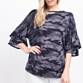 Camo Ruffle Sleeve Open Neckline Knit Top - Black