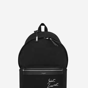 Black Canvas Embroider Signature Backpack by Saint Laurent