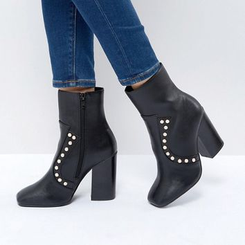 Boohoo Studded Heeled Ankle Boot at asos.com