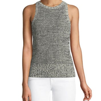 Theory Open-Back Wool/Paper Crewneck Shell Top