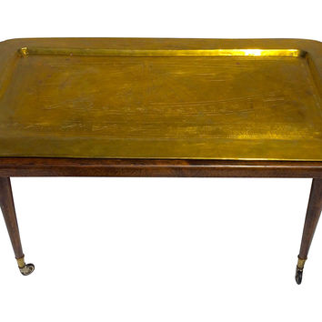 Midcentury Brass Tray Table