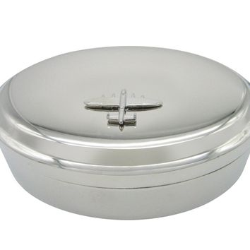 Silver Toned Bomber Plane Pendant Oval Trinket Jewelry Box