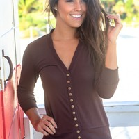 Brown Cardigan with 3/4 Sleeves