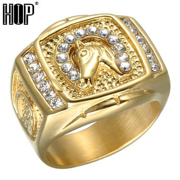 HIP Hop Micro Pave Rhinestone Iced Out Bling Horse Ring IP Gold Filled Titanium Stainless Steel Rings for Men and Women Jewelry